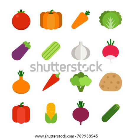 Illustrations of healthy vegetables. Vector icon set in flat style vegetable carrot and tomato, pepper and radish, eggplant and corn