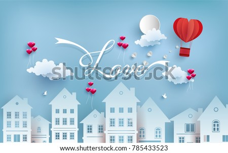 illustrations of love and valentine's day with paper art design. air balloon across the housing. there is love writing and hot air balloon as a symbol of love. happy Valentine