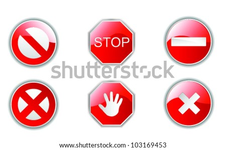 Illustrations of road symbols as stop, access denied, stop denied and other