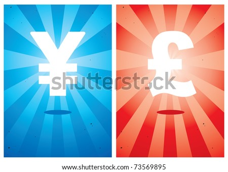 Illustrations of signs the yen and pound against the bright background