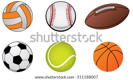 Illustrations of sports ball icons,soccer ball, baseball ball, tennis ball  and basket ball.