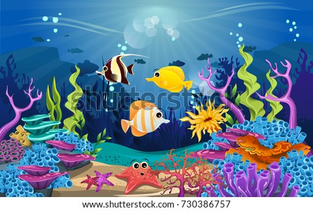 coral reef with fish background download free vector art stock