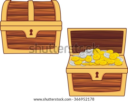 Illustrations Of Treasure Chest, Open, Closed And With ...