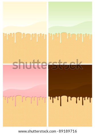 Illustrations of wafers coated with different creams