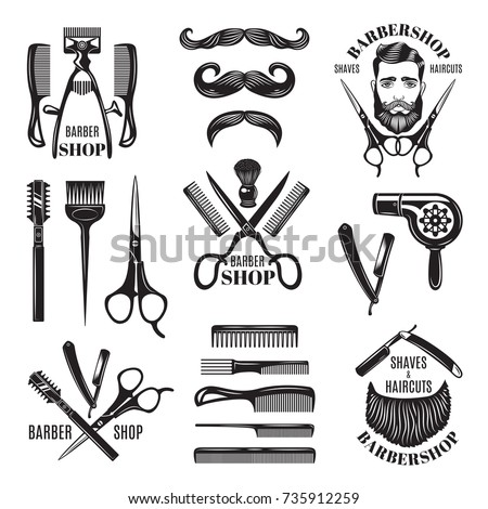 Illustrations set of different barber shop tools. Symbols for badges and labels. Barber shop and hair salon for man badge vector