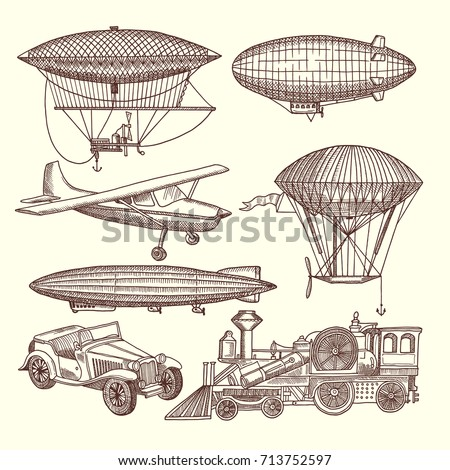 Illustrations set of machines in steampunk style. Vector transport zeppelin and airship, car and train transportation