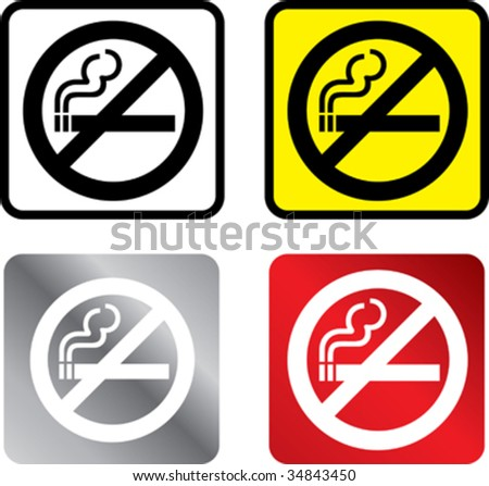 illustratiuon in 4 different colours of a no smoking sign