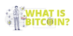 Illustrative typography horizontal banner with words 'What is bitcoin?' and man thinking about bitcoins. Bitcoin related vector flat linear design concept.