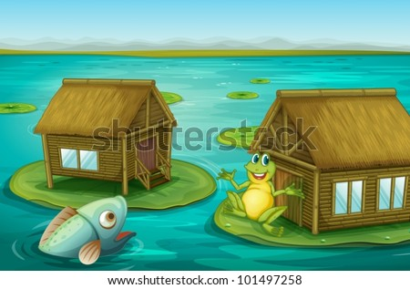 Illustraton of cabins on the water with a frog and a fish