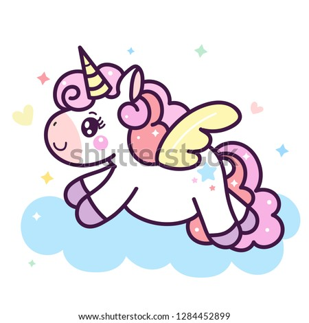 Illustrator of Unicorn cartoon pony horse cartoon Dream pastel color (happy unicorn expressions): series Illustration of cute fairytale pony- card and Print for t-shirt.Romantic hand drawing. #1284452899