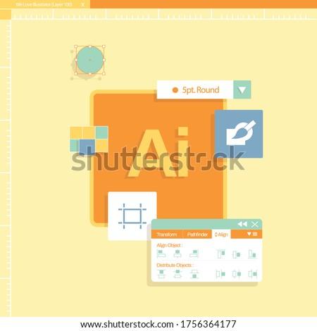 illustrator program tool with patel design