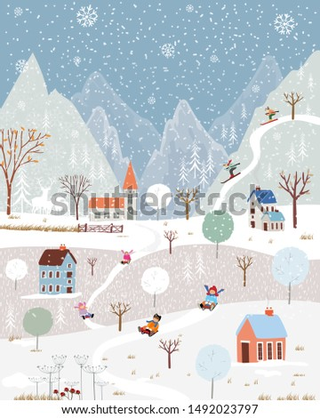 Illustrator winter landscape,Vector of horizontal banner of winter wonderland at countryside with snow covering, Happy with kids sledding in the winter park and couple with skiing on the mountain