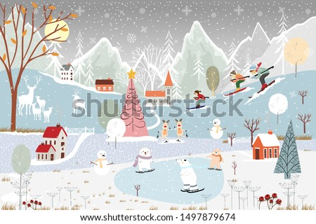 Illustrator winter landscape,Vector of horizontal banner of winter wonderland at countryside with snow covering, polar bear playing ice skates in the winter park and family skiing on the mountain