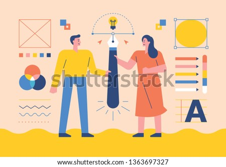 Illustrators holding a pen together as a symbol of collaboration.  flat design style minimal vector illustration