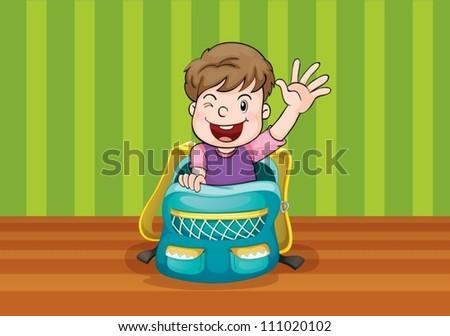 illustrtion of a boy in the bag