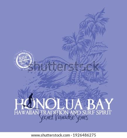 Ilustração colorida em vetor de paisagem relativa aos tropicos e ao surf, arte em estilo despojado de cartoon, com traços livres e irregulares. Zdjęcia stock ©