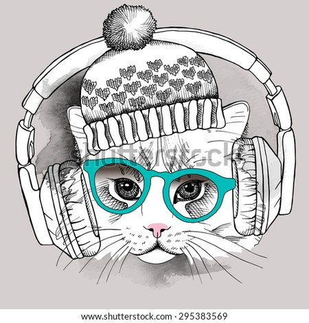 image cat portrait in a hat and
