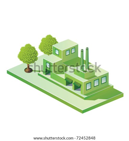 Image factory in isometric projection on a white background - stock vector