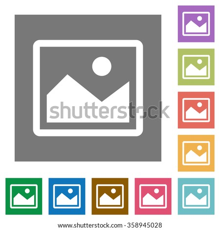 Image flat icon set on color square background.