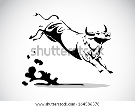 image graphic style of angry bull isolated on white background
