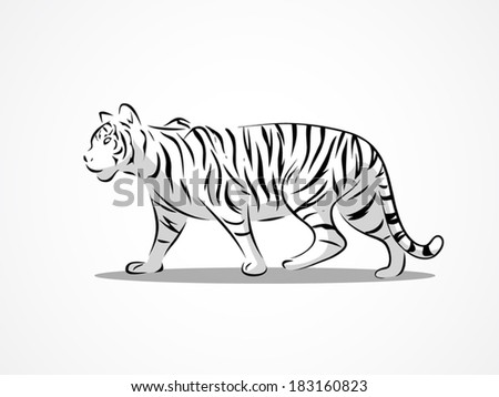image graphic style of tiger walk  isolated on white background
