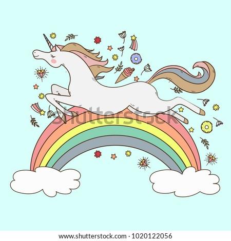 Image happy unicorn on blue background