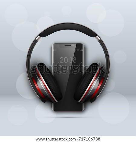 image headphones on smartphone
