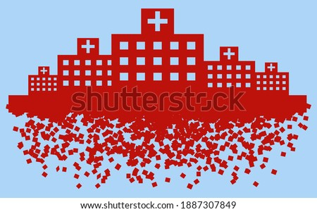 Image illustration of a hospital that collapses due to medical collapse Stock photo ©