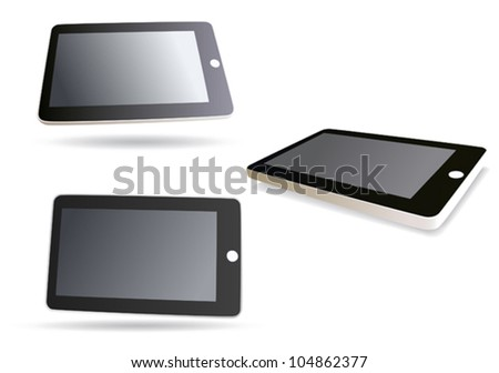 image isolated tablet computer - vector set - stock vector
