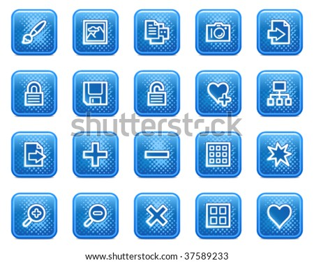 Image library web icons, blue square buttons with dots