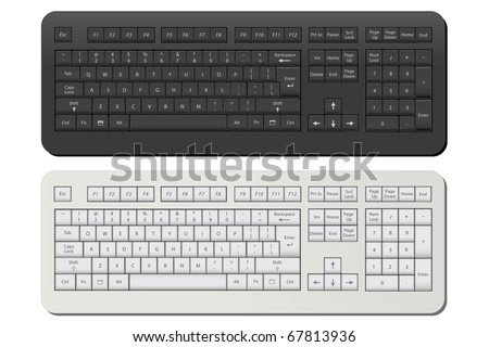 Image of a black and a white keyboard isolated on a white background.