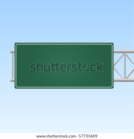 Image of a blank green highway sign against a sky background. #57733609