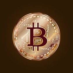 Image of a coin. Bitcoin. Cryptocurrency. Vector illustration.