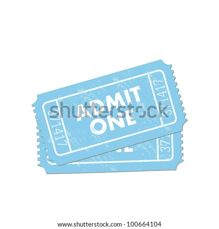 Image of a colorful, blue admit one ticket isolated on a white background.