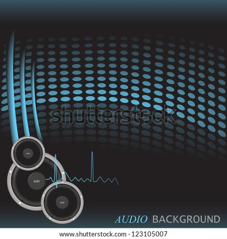 Image of a colorful, blue audio background with speakers.