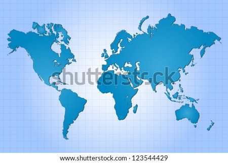 Image of a colorful, blue world map with a grid background.
