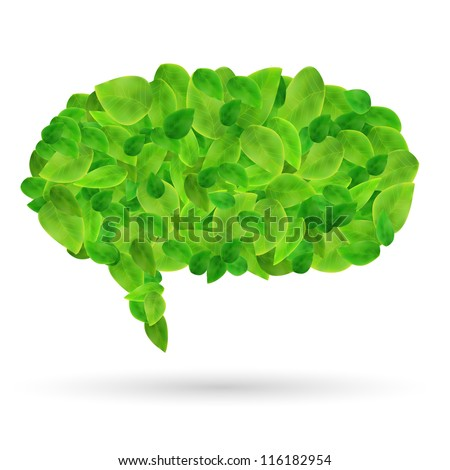 Image of a colorful, green chat bubble made of leaves isolated on a white background.