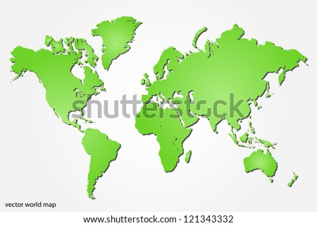 Image of a colorful green world map isolated on a white background.