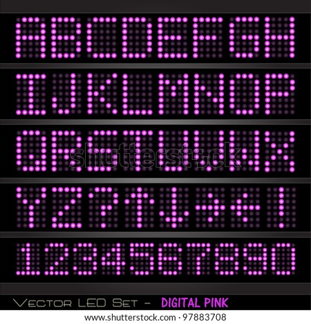 Image of a colorful, pink digital set of alphabetic and numeric characters.