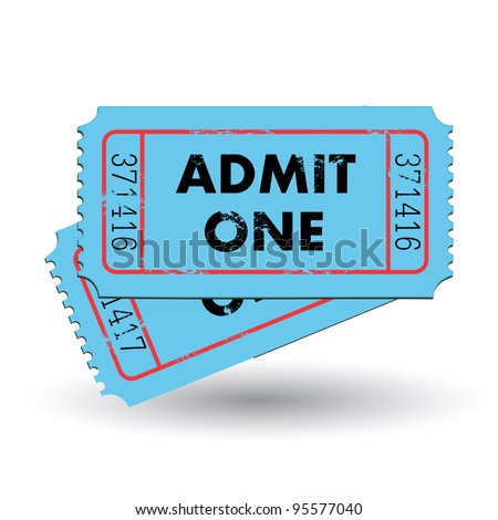 Image of a colorful, vintage admit one ticket isolated on a white background.