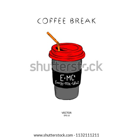 image of a cup of coffee on a bright background. Vector illustration