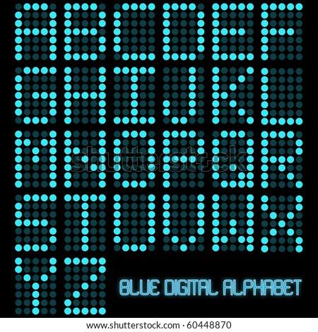 Image of a digital blue alphabet on a dark background.