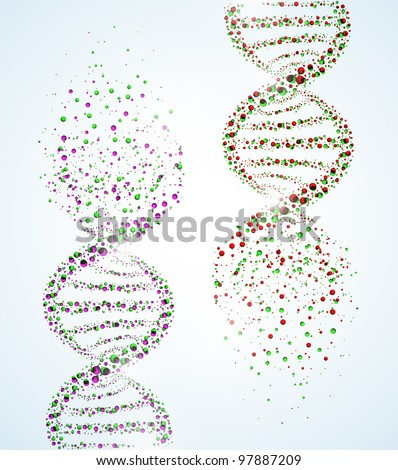 Image of a DNA molecule, showing its destruction. Eps 10