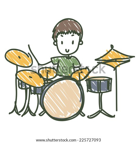 image of a doodle style drummer