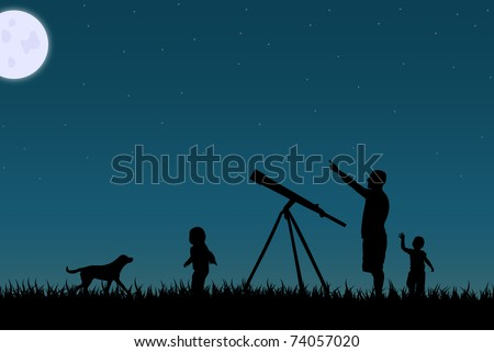 image of a family star gazing