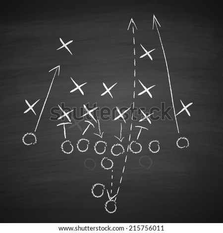 image of a football tactic on blackboard. Transparency effects used.