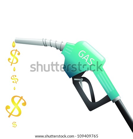 Image of a gas pump with dollar signs depicting fuel isolated on a white background.