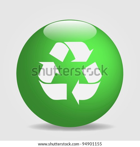 Image of a globe with the recycle symbol isolated on a white background.