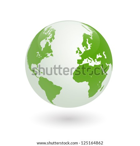 Image of a green earth globe isolated on a white background.
