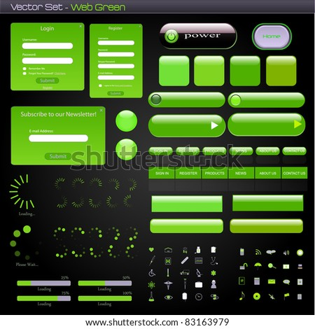 Image of a green web template with forms, bars, buttons and icons on a dark background.